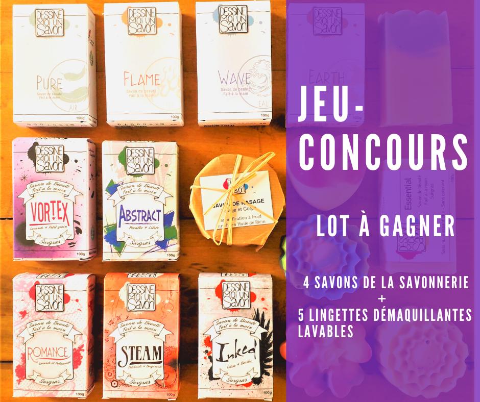 JEU-CONCOURS LOt à gagner 4 savons de la savonnerie + 5 lingettes démaquillantes lavables